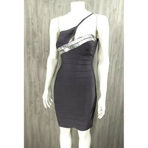 BCBGMAXAZRIA Sexy Bandage Gray Bodycon Club Dress